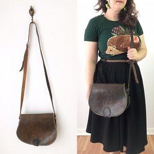 Vintage Rustic Leather Saddle Bag Crossbody Brown
